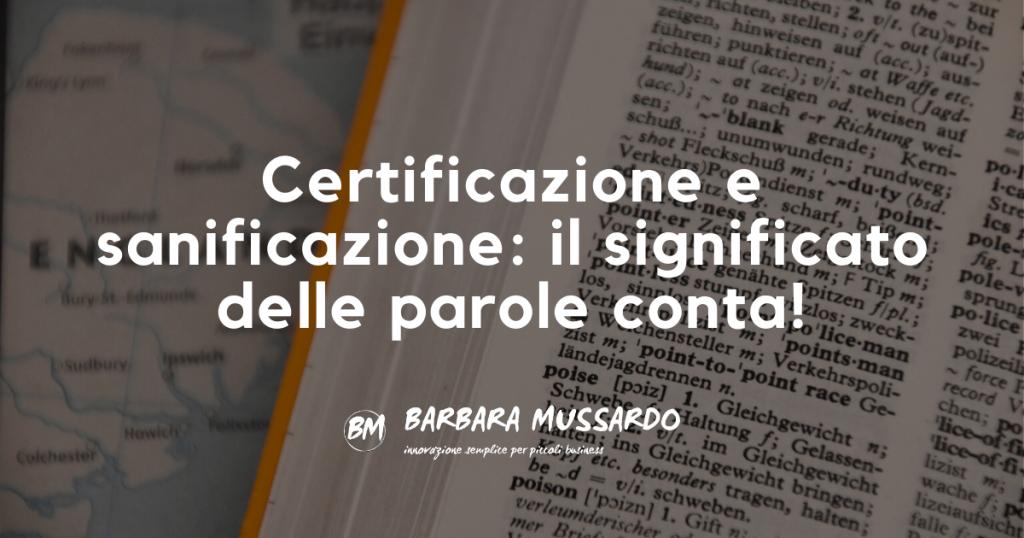 certificazione e sanificazione cover